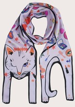 Love Potion Cat - Foulard en soie animale