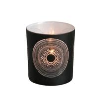 Photophore motif oriental verre noir et blanc 8 cm