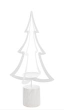 Kerzenleuchter Tanne aus Metall und Holzsockel Weiß 79 cm